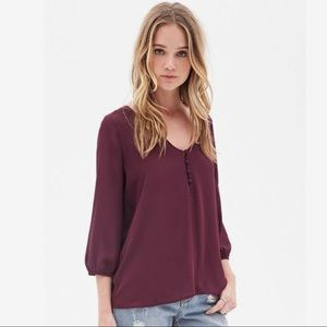 Forever 21 purple 3/4 sleeve top, small